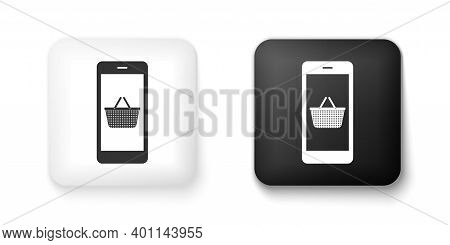 Black And White Mobile Phone And Shopping Basket Icon Isolated On White Background. Online Buying Sy