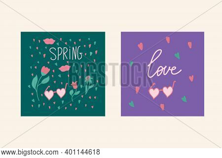 A Set Of Greeting Cards For Lovers Of Spring. The Illustration Is Hand-drawn With The Words Spring,