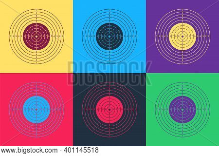 Pop Art Target Sport For Shooting Competition Icon Isolated On Color Background. Clean Target With N