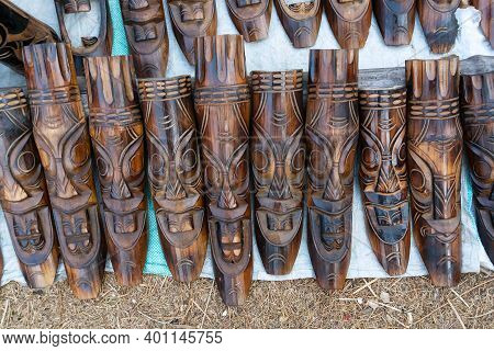 Wooden Masks Or Tribal Masks, Wall Hanging Handicrafts, On Display During The Handicraft Fair In Kol