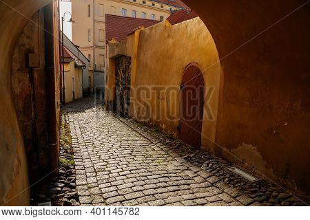 Narrow Passageway, Arched Passage, Picturesque Street With Colorful Buildings In Historic Center, Re