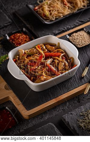 Slices Of Chicken With Vegetables In Sauce Served With Pasta, Chinese Main Course