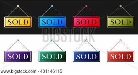 Set Sold Icon Isolated On Black And White Background. Sold Sticker. Sold Signboard. Vector