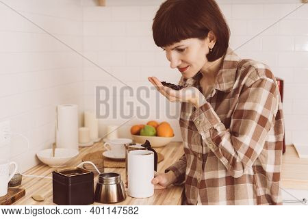 Anosmia, Restore Sense Of Smell. Covid-19 Causes Loss Of Smell. Happy Woman Sniffing Coffee From Han