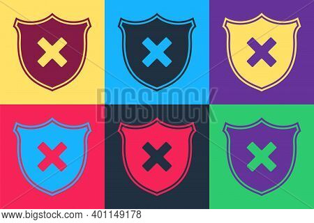 Pop Art Shield And Cross X Mark Icon Isolated On Color Background. Denied Disapproved Sign. Protecti