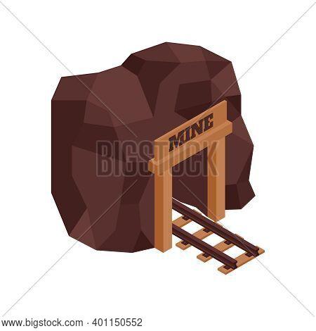 Isometric Gold Mining Rush With Mine Image Vector Illustration