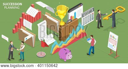 3d Isometric Flat Vector Conceptual Illustration Of Business Succession Planning