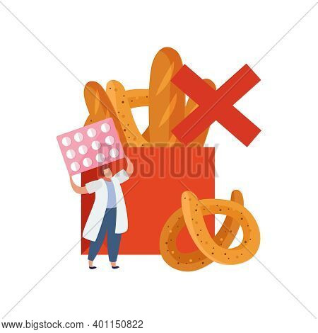 Gluten Intolerance Concept With Prohibited Products And Man Holding Pills Flat Vector Illustration