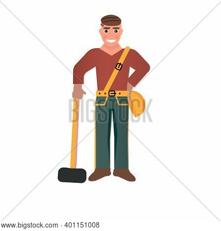 Profession: Builder. Young Healthy Guy. Man With A Sledgehammer.juicy Composition. Young Man In Red