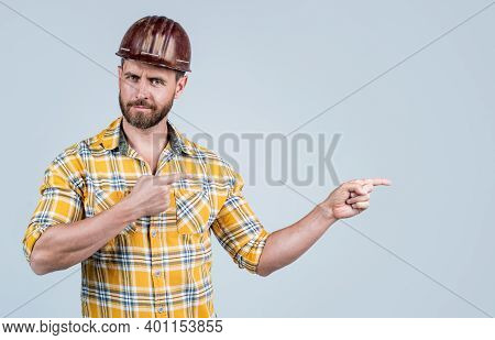 Look Over There. Mature Builder In Shirt. Unshaven Man On Construction Site. Handsome Building Worke