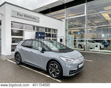 Augsburg, Germany - December 25, 2020: The New Volkswagen Id.3 Electric Car Is Charging At The Volks