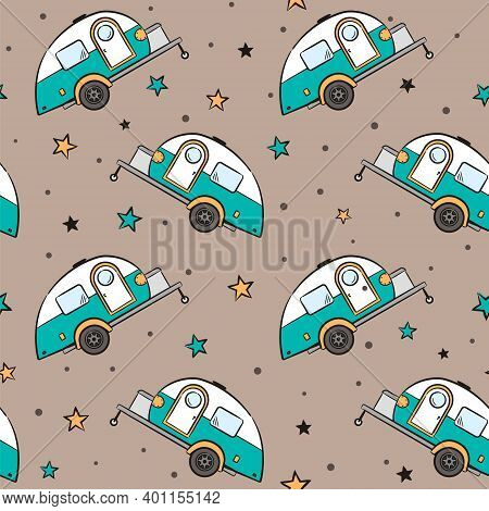 Seamless Pattern Of Hand-drawn Caravan Trailer And Stars. Retro Campers. Vector Illustration On The