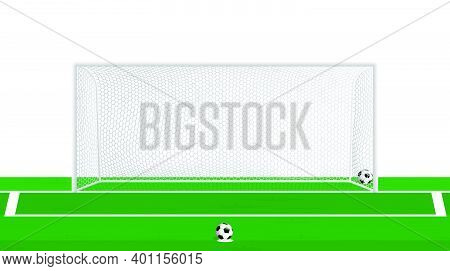 Realistic Football Goal With Hexagonal Net And Soccer Ball At Penalty Spot. Team Sports. Active Life