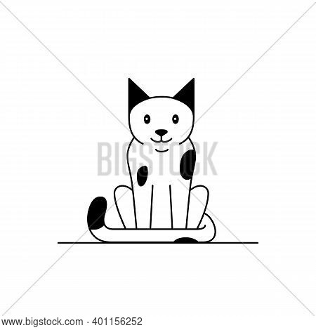 Cat Icon. Cartoon Vector Clip Art With A Cute Cat Animal. Black And White Concept Illustration Of Ha