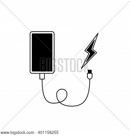 Smartphone Charging Icon. Cartoon Vector Icon Of A Smartphone With Charging Cable And Lightning Symb