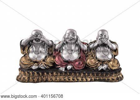 Three Wise Buddha See Hear Speak No Evil Laughing Buddha Statue Isolated On White Background, Buddha