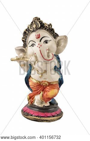 Ganesh Ji Statue Isolated On White Background With Clipping Path