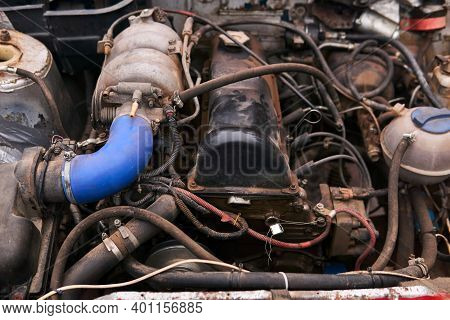 Old Dirty Car Engine With Numerous Homemade Modifications Under The Hood