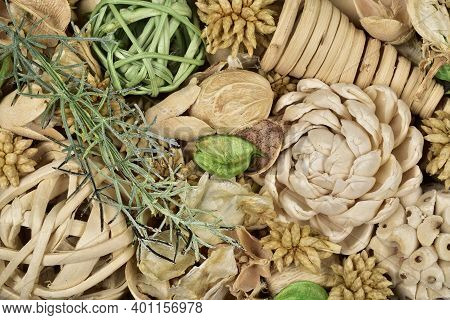 Closeup Of Potpourri Texture Background, Top View