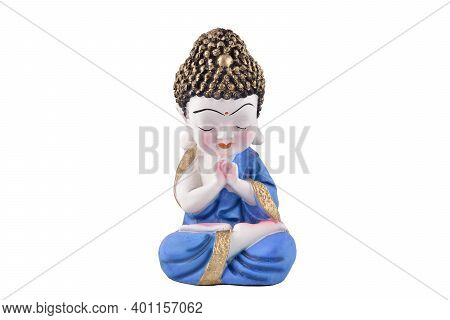 Ceramic Buddha Showpiece Isolated On White Background With Clipping Path