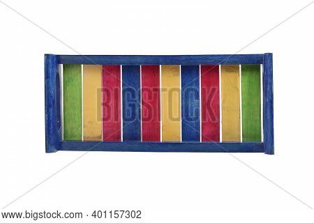 Top View Of Colorful Wooden Tray Isolated On White Background, Beech Wood Product