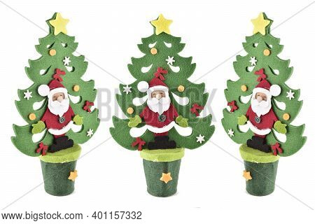 Artificial Christmas Tree Isolated On White Background With Clipping Path, Christmas Tree Wall Hangi