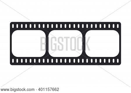 Vector Blank Cinema Film Strip. Negative Frame, Photo Frame Mockup. Cinema Clipping, Rectangle Recor