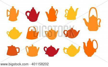 Vector Set Of Ceramic Teapots. Silhouettes Of Different Shapes Of Clay Teapots, Pottery And Modeling