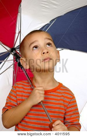 Boy With Umbrella 5 Years Old