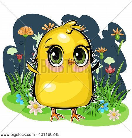 Little Chick. The Funny Chick Is Trying To Take Off. Cute And Funny Chick. The Isolated Object On A