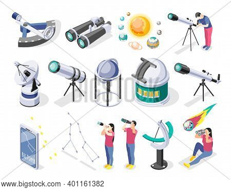 Astronomy Isometric Recolor Set Of Isolated Icons Of Telescopes Radars And Various Observational Fac