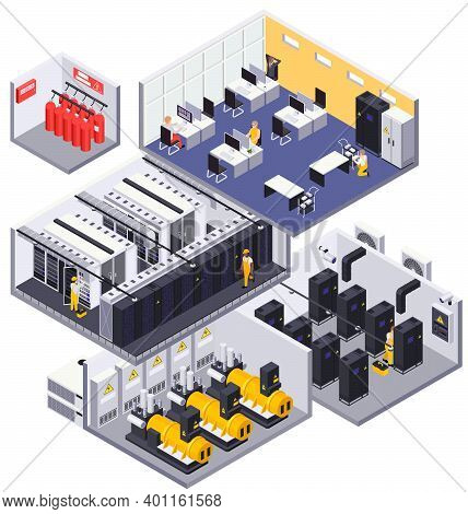 Data Center Facility Interior Isometric Composition With Servers Racks Operators Fire Suppression Sy