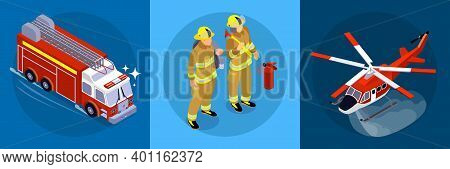 Firefighting Horizontal Banner Consisting Of Three Square Parts With Firefighters Firetruck Aircraft