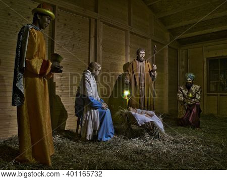 Pandemic Nativity Scene 2.  Lodz, Poland - December 26, 2020 Kings And The Holy Family In A Christma