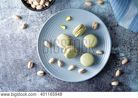 Fresh Sweet Green Pistachios Macarons With Filling