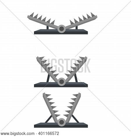 Trap For Hunting Animals. Snare With Sharp Prongs. Set Of Steel Dangerous Objects. Cartoon Flat Illu