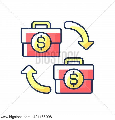 B2b Marketing Rgb Color Icon. Situation Where One Business Makes Commercial Product Transaction With