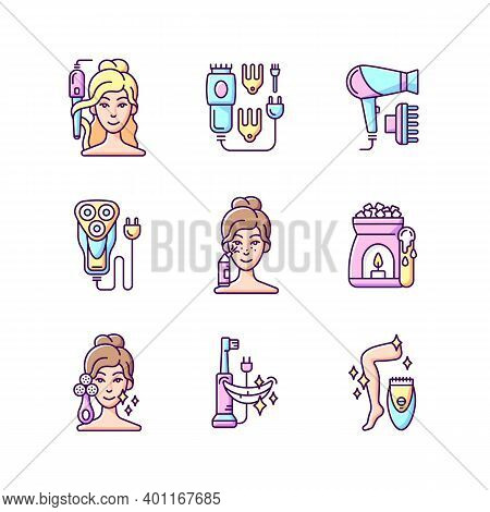 Skincare Routine Rgb Color Icons Set. Hairstyling Appliance. Electric Hair Clippers. Blackhead Remov