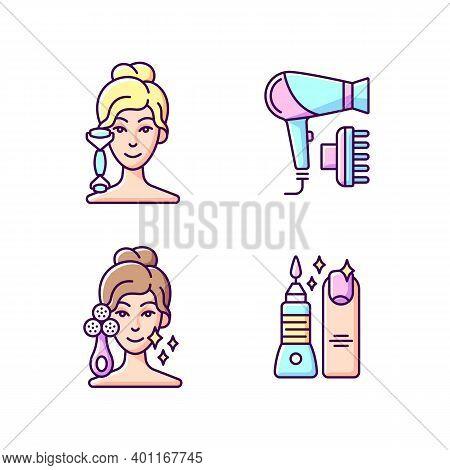 Beauty Tools Rgb Color Icons Set. Quartz Facial Roller. Hair Dryer. Facial Cleansing Device. Manicur