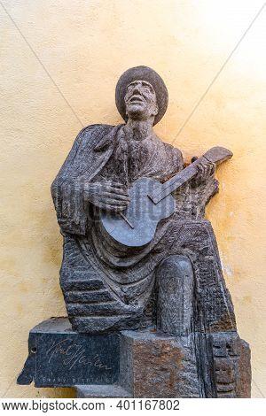 Prague, Czech Republic - May 26, 2020: Statue Of Czech Musician Karel Hasler At Old Castle Stairs, P