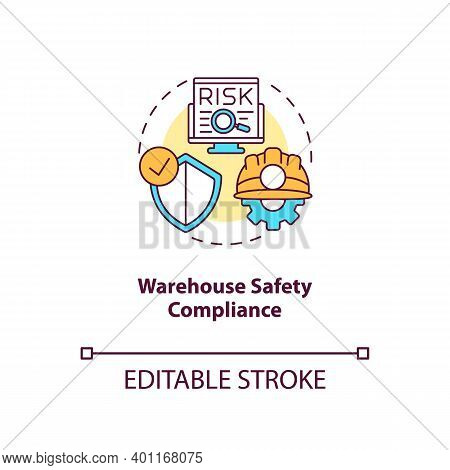 Warehouse Safety Compliance Concept Icon. Warehouse Management Software Benefits. Hazard You Should