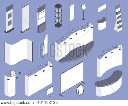Expo Stand Template Isometric Set Of Different Information Boards Screens And Booths Isolated On Lil