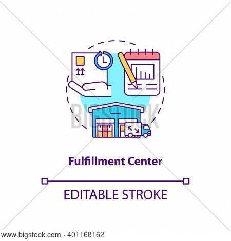 Fulfillment Center Concept Icon. Ecommerce Warehouse Solutions. Packing Facilities For Your Store. C
