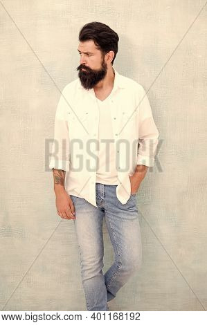 Summer Collection. Menswear Concept. Fashion Clothes. Attractive Guy Wall Background. Summer Fashion