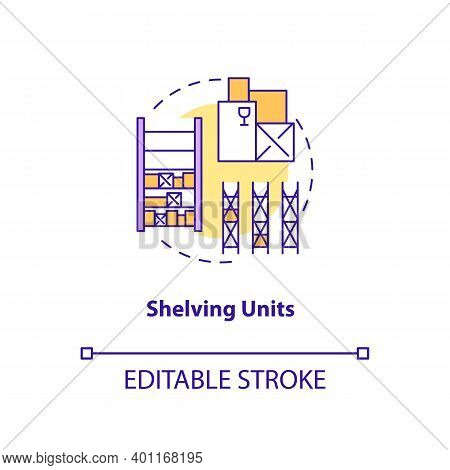 Shelving Units Concept Icon. Key Warehouse Equipment. Flexible Display System Which Can Be Moved. Pr