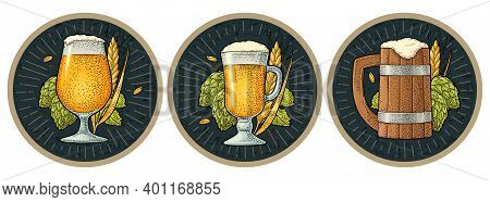 Glass Beer With Ears Of Corn And Hop Branch. Vector Engraving