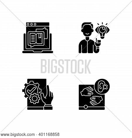 User Experience Management Black Glyph Icons Set On White Space. Storytelling For Online Blog. Websi