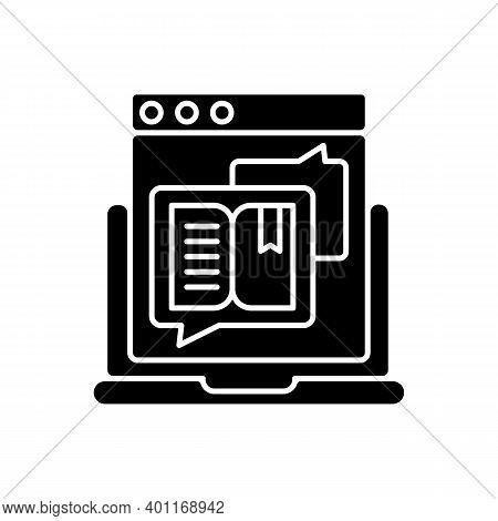 Storytelling Black Glyph Icon. Social Media Content. Online Visual Presentation. Internet Publicatio