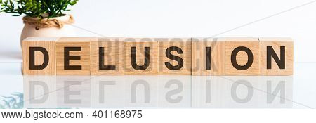 Delusion Word Written On Wood Block. Delusion Motivation Text On Wooden Blocks Business Concept Whit