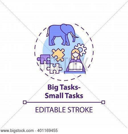 Big Tasks, Small Tasks Concept Icon. Overcoming Procrastination Tip Idea Thin Line Illustration. Bre